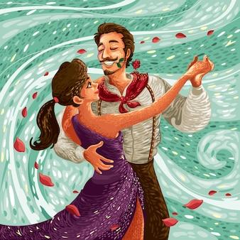 Paar, das im wind tanzt