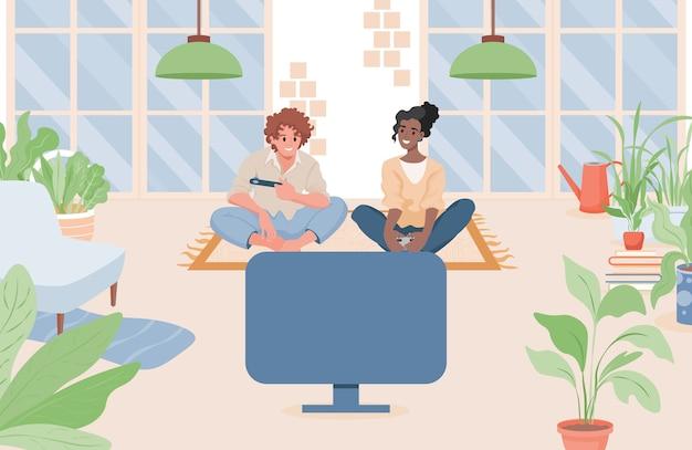 Paar, das im wohnzimmer sitzt und videospiele auf einer flachen illustration der spielkonsole spielt.