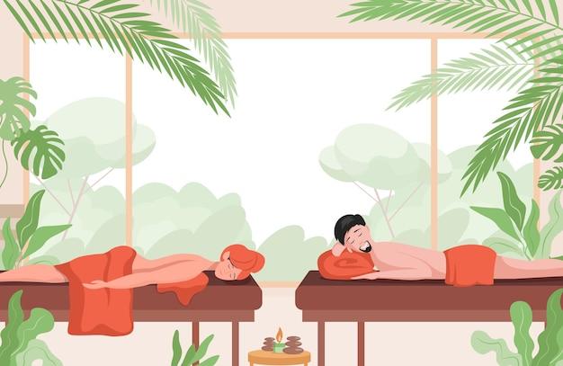 Paar, das in der flachen illustration des massagesalons entspannt