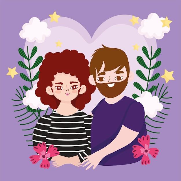 Paar, das in der liebe blumenblumendekorationskarikatur umarmt