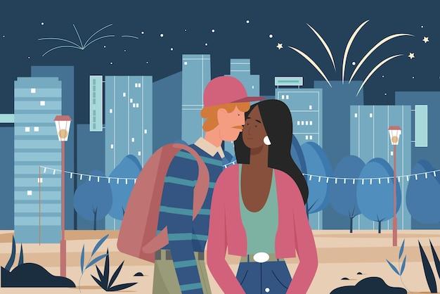 Paar, das in der nachtstadtillustration geht