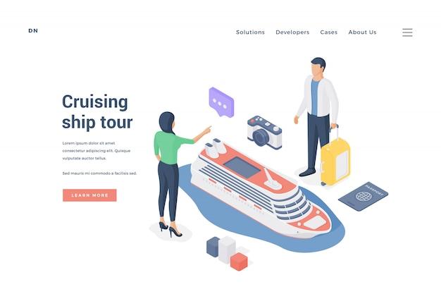 Paar, das kreuzfahrtschiff-tour plant. illustration
