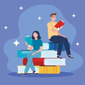 Paar, das lehrbücher liest, die in buchcharakteren sitzen