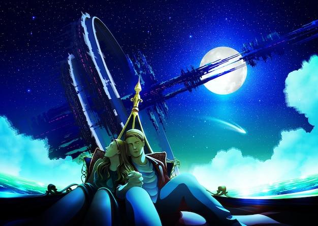 Paar, das nachts zeit zusammen in einem boot mit der massiven futuristischen struktur hat