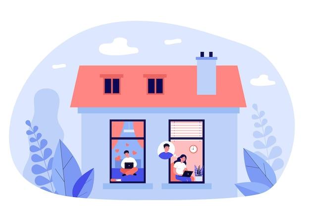 Paar, das online-illustration plaudert