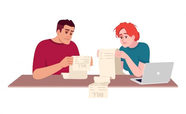 Paar, das rechnungen halbflache illustration zahlt