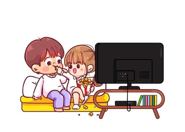 Paar, das zu hause einen film anschaut cartoon-kunstillustration