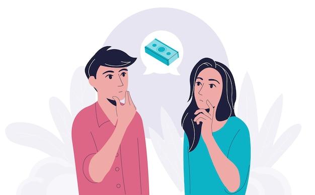 Paar denkt an geld konzept geldprobleme