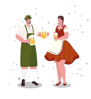 Paar deutsch in nationaltracht mit bierkrügen, für oktoberfest festival vektor-illustration design