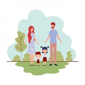 Paar eltern mit kindern in landschaft