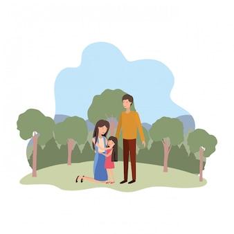 Paar eltern mit tochter in landschaft avatar