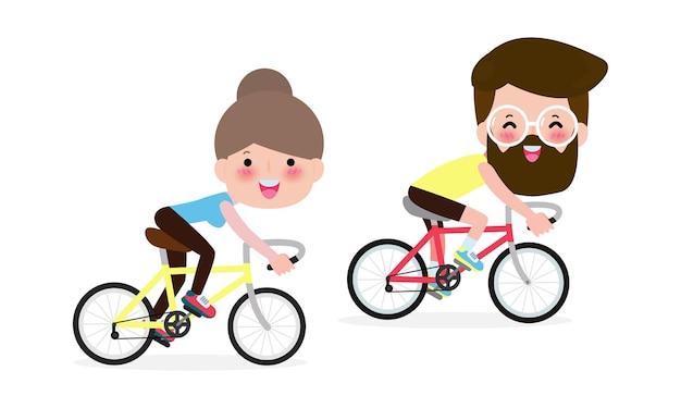 Paar fahrrad fahren, menschen fahrrad fahren isoliert.