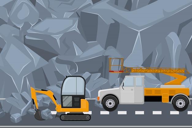 Paar fahrzeug saubere autobahn von felsen, schutt illustration. alpine baumaschinen beseitigen natürliche blockaden.