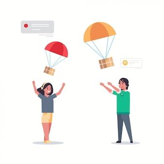 Paar fangen paketbox fallen mit fallschirm vom himmel transport versandpaket luftpost express postzustellungskonzept mann frau im chat in voller länge wohnung