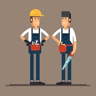 Paar flache charaktere der bauarbeiter