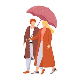 Paar flache gesichtslose charaktere. regnerisches wetter. herbst nasser tag. mann und frau mit regenschirm. gehende familie im mantel lokalisierte karikaturillustration auf weißem hintergrund