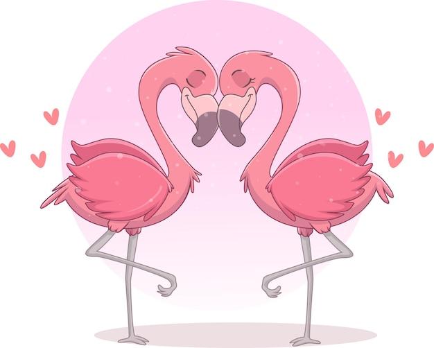 Paar flamingo verliebt in herzen