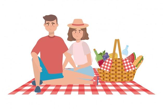 Paar frau und mann mit picknick