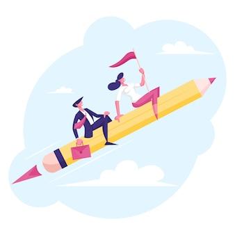 Paar fröhliche geschäftsmann- und -frauencharaktere, die auf riesigem stift wie auf rakete fliegen