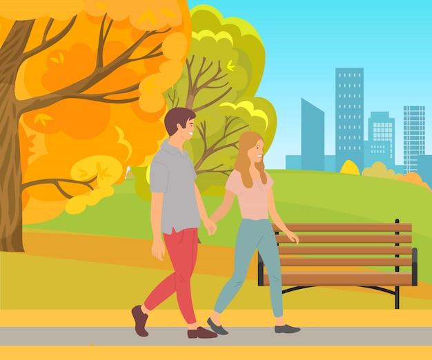 Paar-gehendes händchenhalten, mann und frauen-park