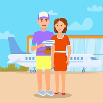Paar geht zum trip. familie, die mit dem flugzeug reist.