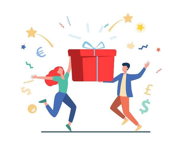 Paar gewinnt preis. mann und frau halten geschenkbox flache vektorillustration. lotterie, geschenk, geburtstagsfeier