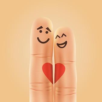 Paar glückliche finger smiley verliebt