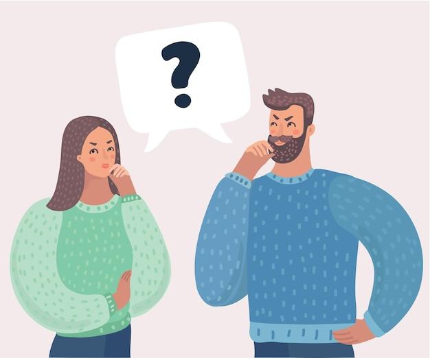 Paar haben eine frage mann und frau lösen rätsel