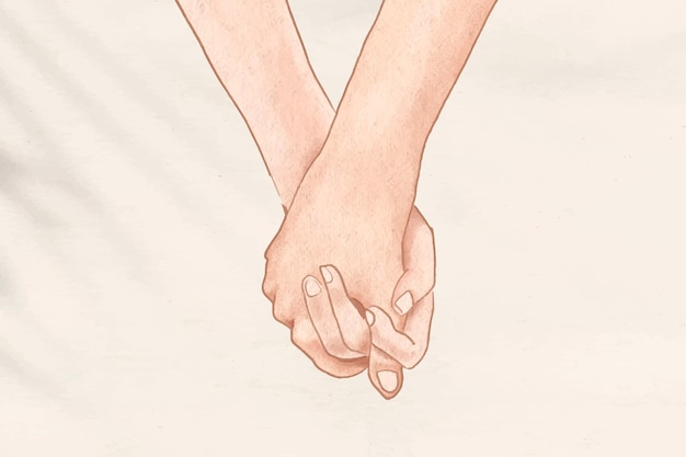 Paar händchen haltend romantisch ästhetischer illustrationshintergrund