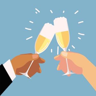 Paar hände mit champagnergläsern feier, jubelt illustration