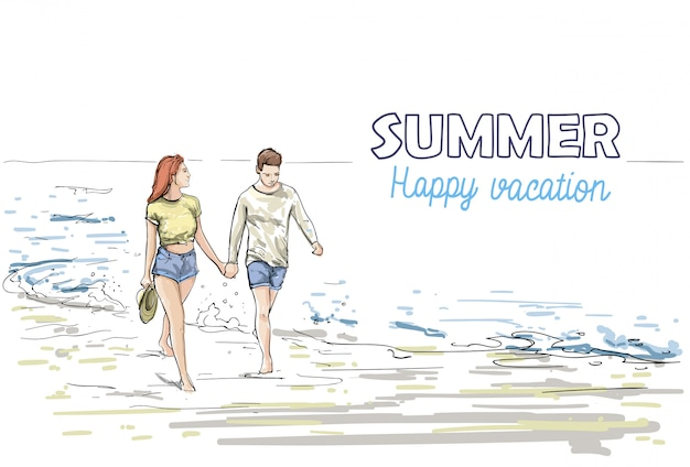 Paar halten die hände, die strand-mann-und frauen-feiertags-skizze auf seeferien gehen