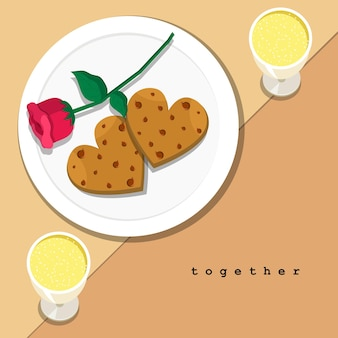 Paar herzförmige kekse und rosa rose auf teller mit paar champagner auf tischgedeck abendessen.