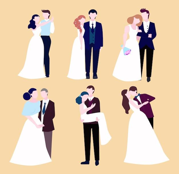 Paar hochzeitsset. sammlung der braut mit blumenstrauß und bräutigam. romantische menschen und weißes kleid für die zeremonie. illustration