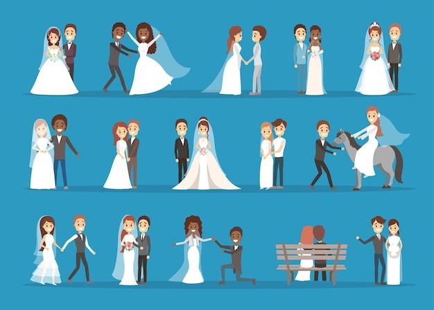 Paar hochzeitsset. sammlung der braut mit blumenstrauß und bräutigam. romantische menschen und weißes kleid für die zeremonie. isolierte flache vektorillustration