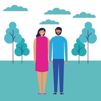 Paar im freien park