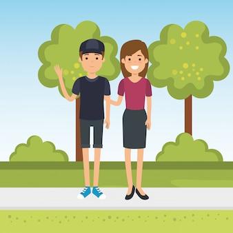 Paar im park zeichen