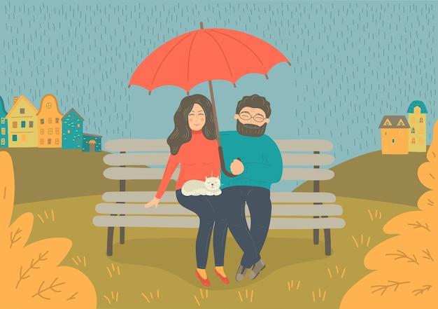 Paar im regen. frau und mann sitzen auf der bank mit regenschirm im regen. illustration.