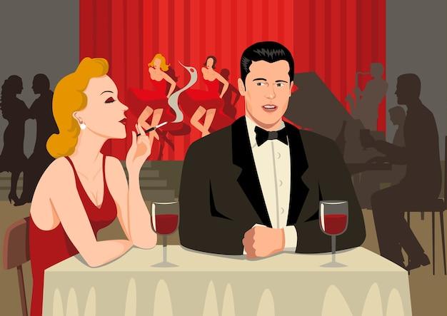 Paar im restaurant in den 40er jahren