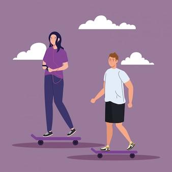 Paar im skateboard, das outdoor-aktivitäten ausführt