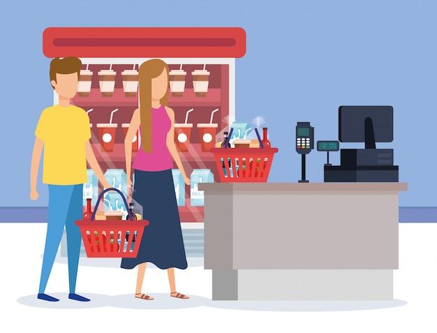 Paar im supermarkt kühlschrank mit verkaufsstelle