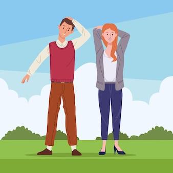Paar in aktiver pausenlandschaft