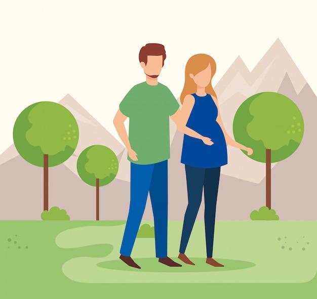 Paar in den park zeichen