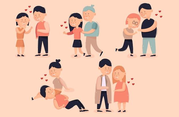 Paar in der liebe cartoon bundle illustration