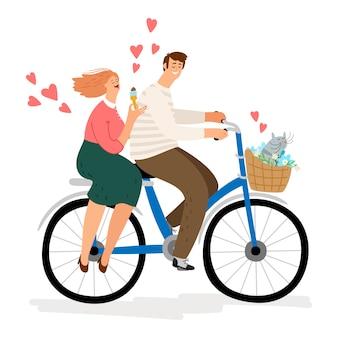 Paar in der liebe, die fahrradillustration reitet. zeichentrickfiguren mann frau katze