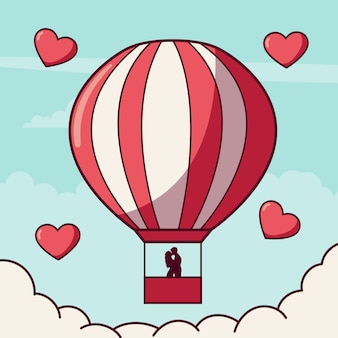 Paar in der liebe in einem heißluftballon
