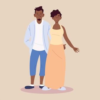 Paar in der liebe, mann und frau afro umarmen sich liebevoll illustration design