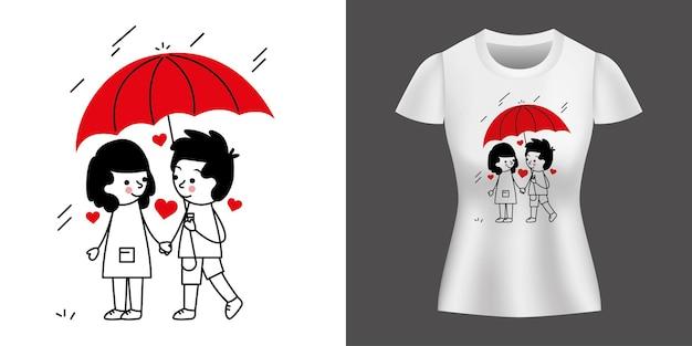 Paar in der liebe mit regenschirm, der zwischen regen geht, der auf hemd gedruckt wird.