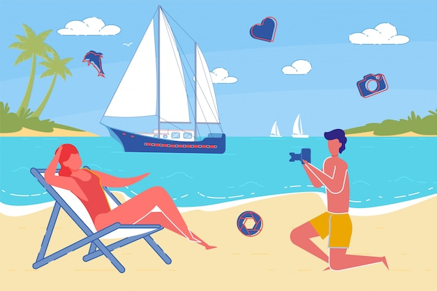 Paar in der liebe sommer im urlaub von ocean beach