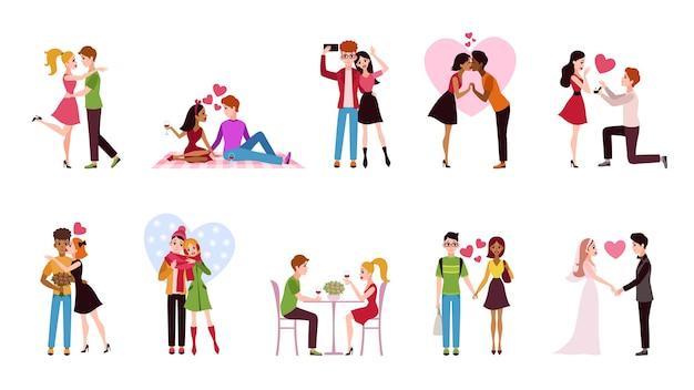 Paar in liebe gesetzt liebevolle situationen glückliche romantische paare junge männer