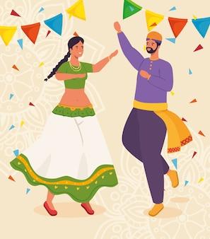 Paar indianer mit kleidung traditionellen tanz und girlanden dekoration illustration design